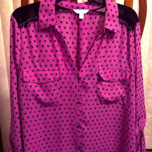 Candies XL Pink and Black Heart Button Up Shirt